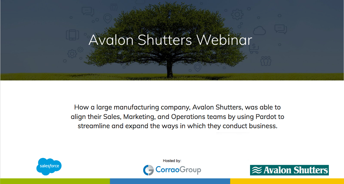 Pardot Webinar: How Corrao Group Boosted Sales by 40.3% for Avalon Shutters